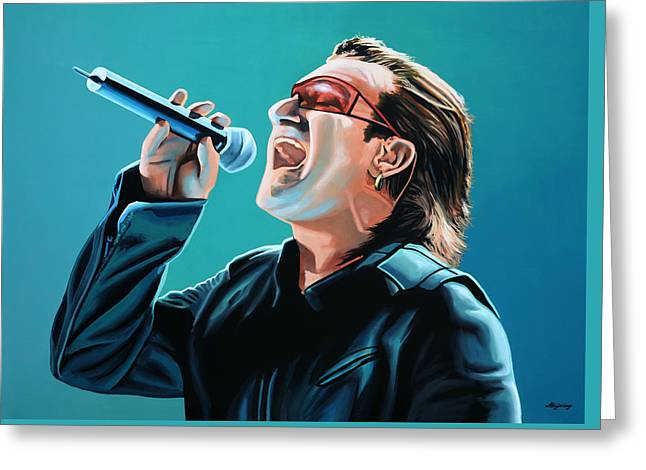 U2 Paintings Greeting Cards - Bono of U2 Greeting Card by Paul  Meijering
