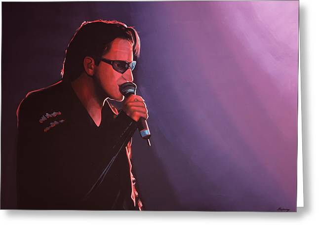 U2 Paintings Greeting Cards - Bono U2 Greeting Card by Paul Meijering