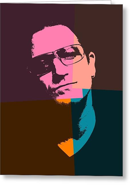 Irish Rock Band Greeting Cards - Bono Pop Art Greeting Card by Dan Sproul