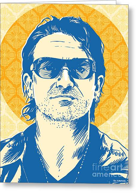 The Edge Greeting Cards - Bono Pop Art Greeting Card by Jim Zahniser