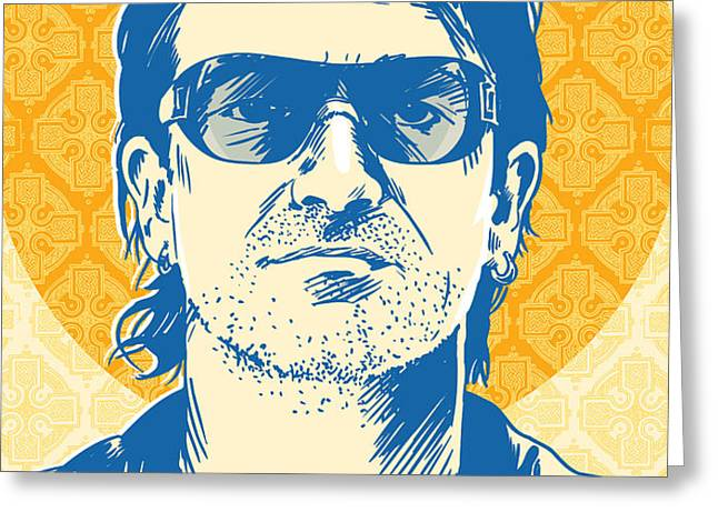Bono Pop Art Greeting Card by Jim Zahniser