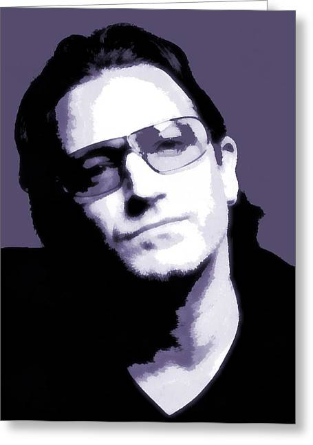 Irish Rock Band Greeting Cards - Bono Portrait Greeting Card by Dan Sproul