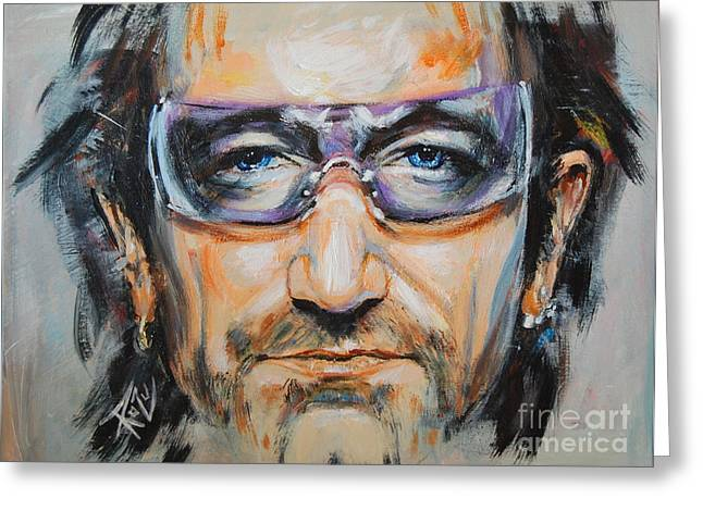 U2 Paintings Greeting Cards - Bono Greeting Card by Stanciu Razvan