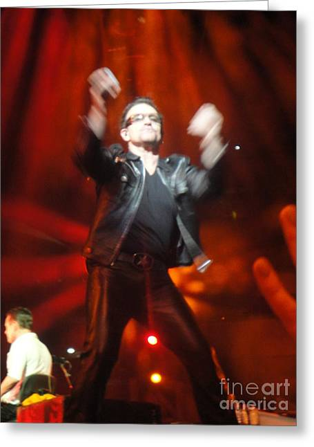 U2 Photographs Greeting Cards - Bono Greeting Card by Tara Nightingale