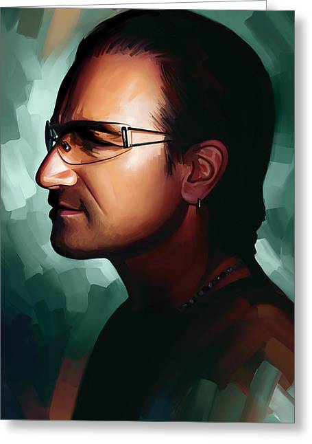 U2 Greeting Cards - Bono U2 Artwork 1 Greeting Card by Sheraz A