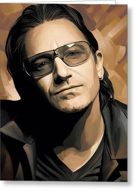 U2 Greeting Cards - Bono U2 Artwork 2 Greeting Card by Sheraz A