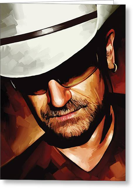 U2 Greeting Cards - Bono U2 Artwork 3 Greeting Card by Sheraz A