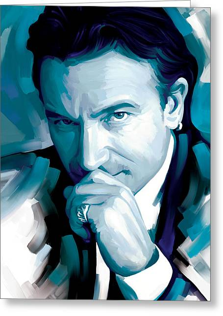 U2 Greeting Cards - Bono U2 Artwork 4 Greeting Card by Sheraz A