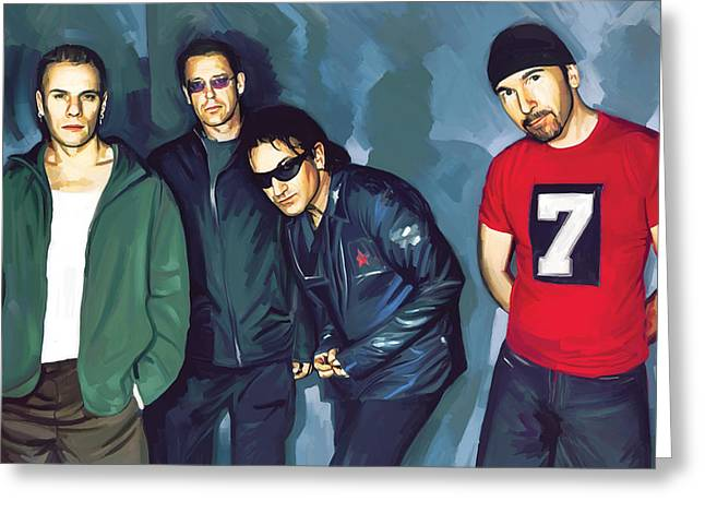 U2 Greeting Cards - Bono U2 Artwork 5 Greeting Card by Sheraz A