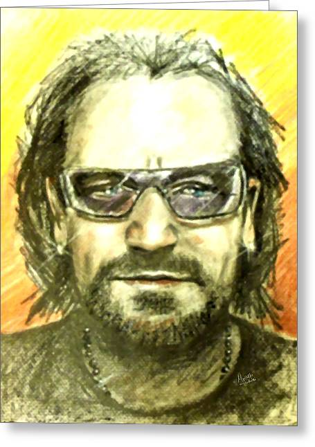Berlin Germany Pastels Greeting Cards - Bono - U2 Greeting Card by Marcello Cicchini