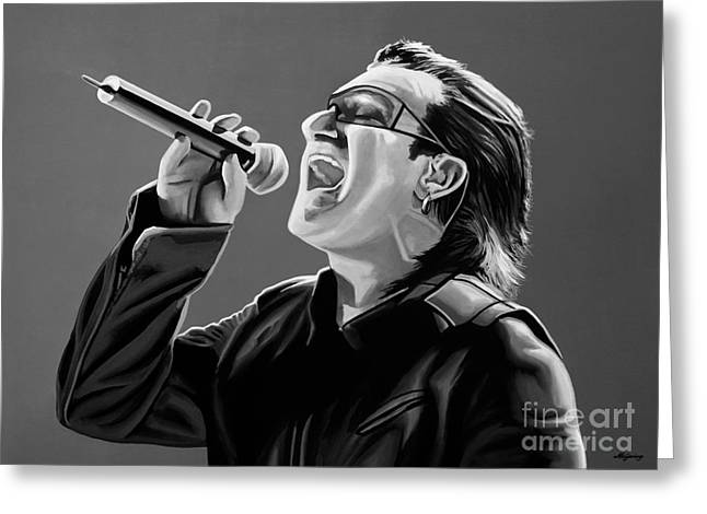 Clayton Mixed Media Greeting Cards - Bono U2 Greeting Card by Meijering Manupix