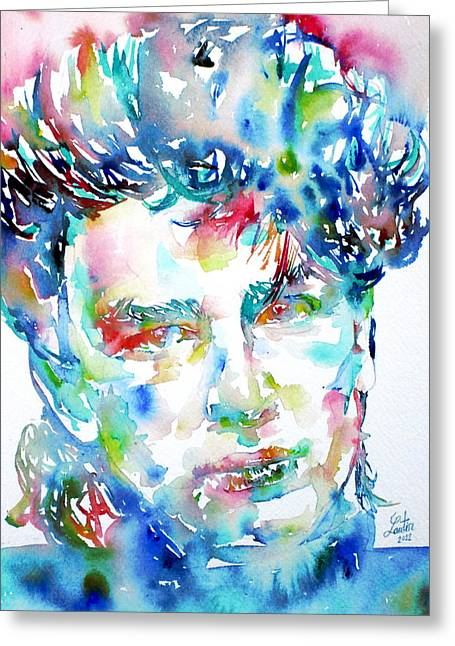 U2 Paintings Greeting Cards - Bono Watercolor Portrait.1 Greeting Card by Fabrizio Cassetta