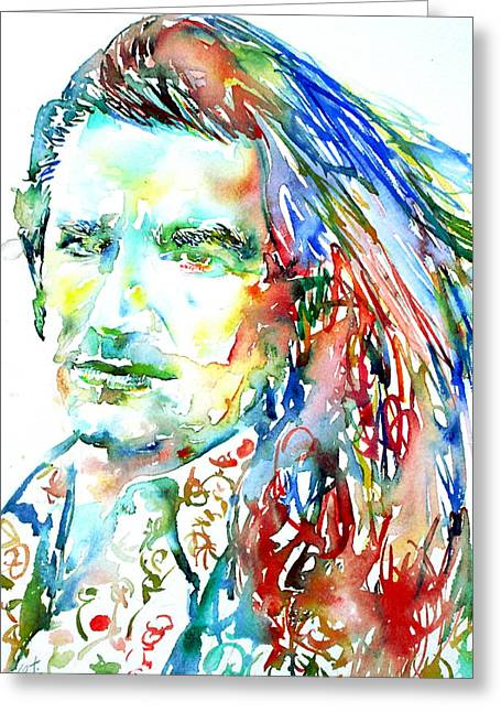 U2 Paintings Greeting Cards - Bono Watercolor Portrait.2 Greeting Card by Fabrizio Cassetta