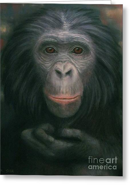 Many Pastels Greeting Cards - Bonobo Greeting Card by Rebekah Sisk