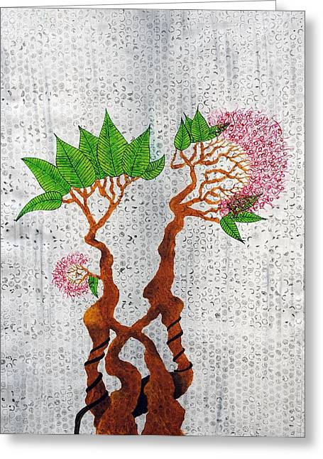 Pink Flower Branch Paintings Greeting Cards - Bonsai 3 Greeting Card by Sumit Mehndiratta
