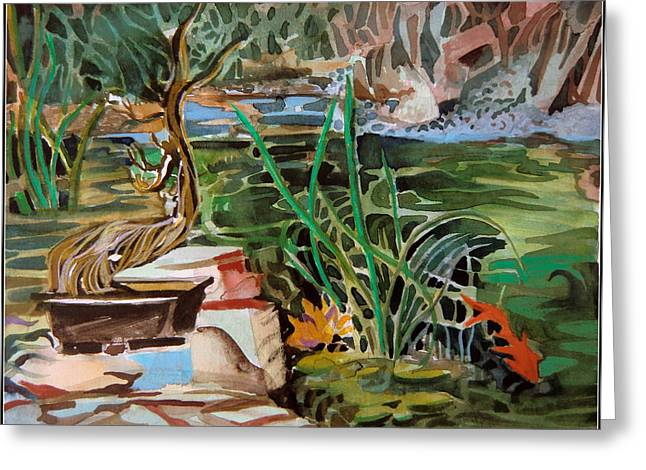 Brook Mixed Media Greeting Cards - Bonsai and Fish Pond Greeting Card by Mindy Newman