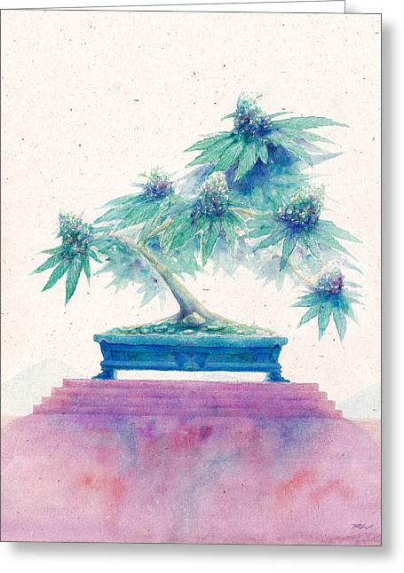 Weed Pastels Greeting Cards - Bonsai Cannabis Two Greeting Card by Raymond L Warfield jr