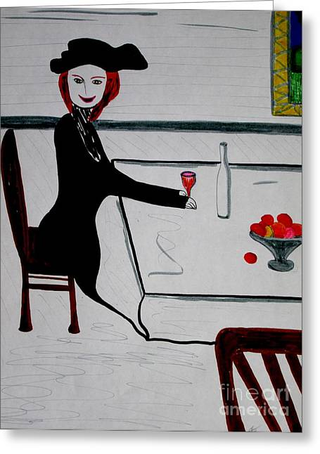 Booze Drawings Greeting Cards - Bonsoir  Its only my third glass Greeting Card by Bill OConnor