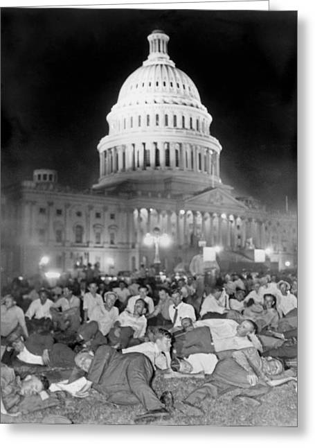 Protesters Greeting Cards - Bonus Army Sleeps At Capitol Greeting Card by Underwood Archives