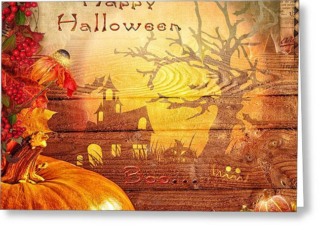 Boo Greeting Card by Mo T