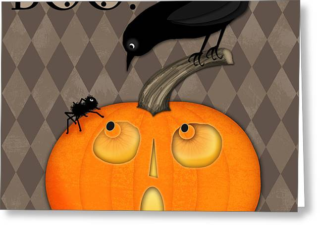BOO Greeting Card by Valerie Drake Lesiak