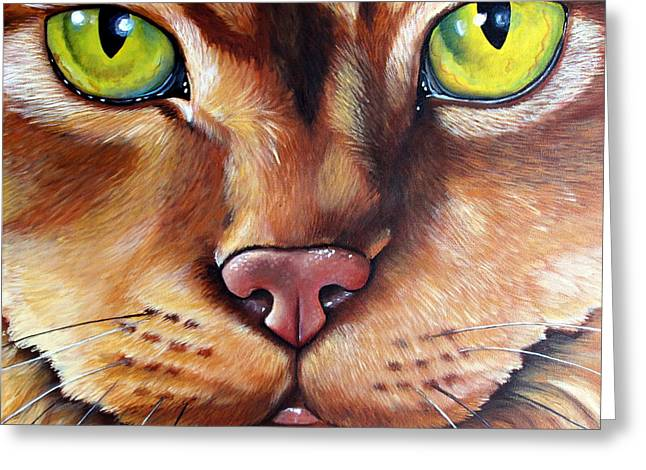 Orange Tabby Paintings Greeting Cards - BooBoo Greeting Card by Laura Carey