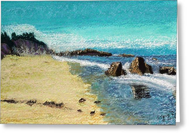Sand Pastels Greeting Cards - Boogie Board Beach Greeting Card by Stephen Raley