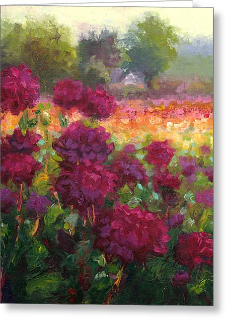 Garden Art Reliefs Greeting Cards - Boogie Nites dahlia landscape oil painting  Greeting Card by Talya Johnson