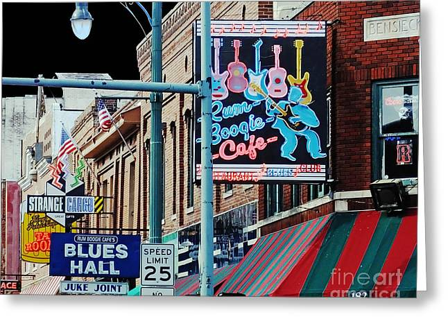 Juke Joint Greeting Cards - Boogie on Beale St Memphis TN Greeting Card by Lizi Beard-Ward