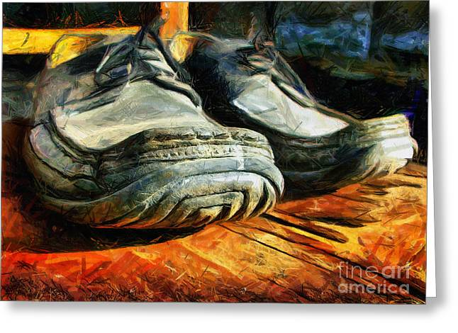 Grunge Pastels Greeting Cards - Boogie Shoes - Walking story - Drawing Greeting Card by Daliana Pacuraru
