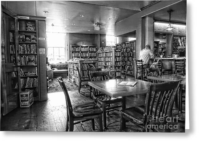 Empty Chairs Greeting Cards - Book And Bar Greeting Card by Marcia Lee Jones