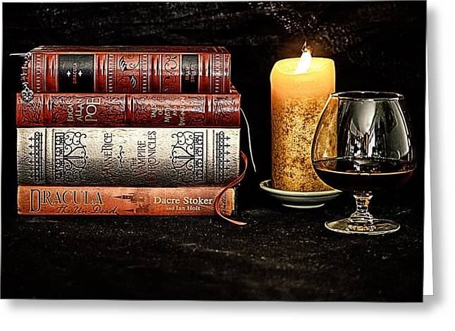 Anne Rice Greeting Cards - Books and Brandy Greeting Card by Jacque The Muse