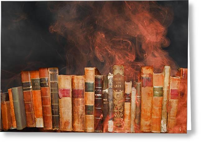 Censorship Digital Art Greeting Cards - Book Burning Inspired by Fahrenheit 451 Greeting Card by John Haldane