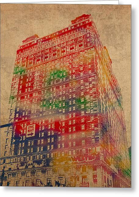 Number 3 Greeting Cards - Book Cadillac Iconic Buildings of Detroit Watercolor on Worn Canvas Series Number 3 Greeting Card by Design Turnpike