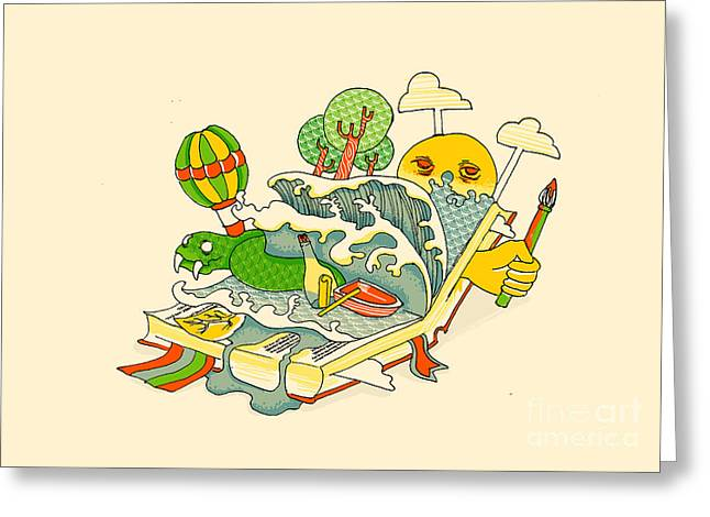 Story Book Greeting Cards - Book is the window of the world Greeting Card by Budi Kwan