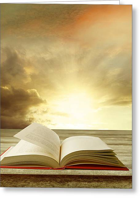 Open Book Greeting Cards - Book Greeting Card by Les Cunliffe