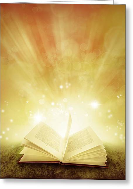 Open Book Greeting Cards - Book of dreams Greeting Card by Les Cunliffe