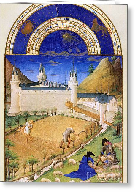 Serf Greeting Cards - Book Of Hours: July Greeting Card by Granger