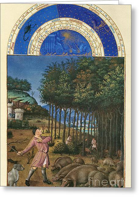 Book Of Hours: November Greeting Card by Granger