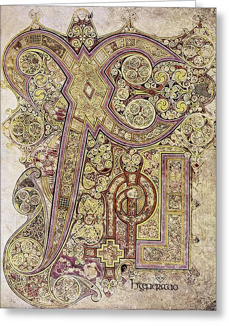 Book Of Kells Christ Page Greeting Card by Granger