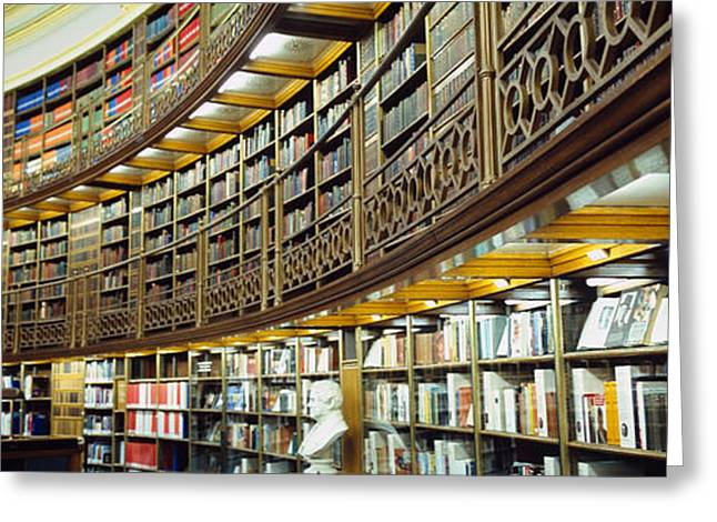 Library Greeting Cards - Bookcase In A Library, British Museum Greeting Card by Panoramic Images