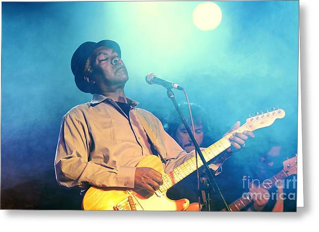 Booker T Jones Us Blues Singer Musician Performing At Maryport Blues Festival  2010 England Greeting Card by David Lyons