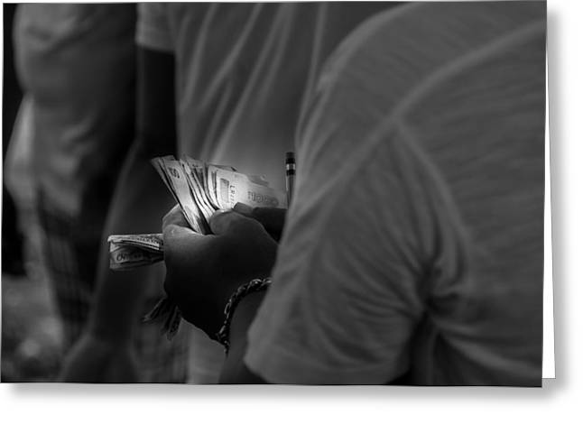 Asien Greeting Cards - Bookmaker Counting Money Greeting Card by Colin Utz