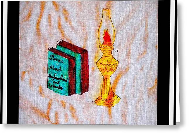Reading Of Image Greeting Cards - Books and a Kerosene Lamp Greeting Card by Barbara Griffin