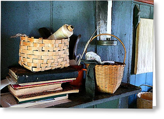 Kitchens Greeting Cards - Books and Baskets Greeting Card by Susan Savad