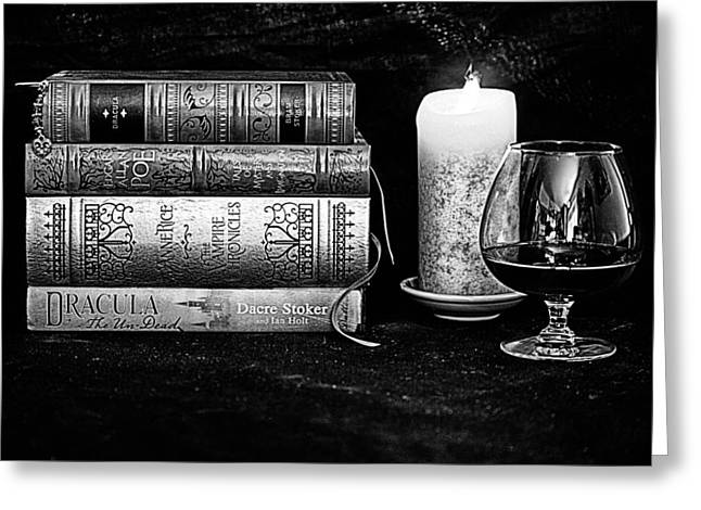 Anne Rice Greeting Cards - Books and Brandy Black and White Greeting Card by Jacque The Muse