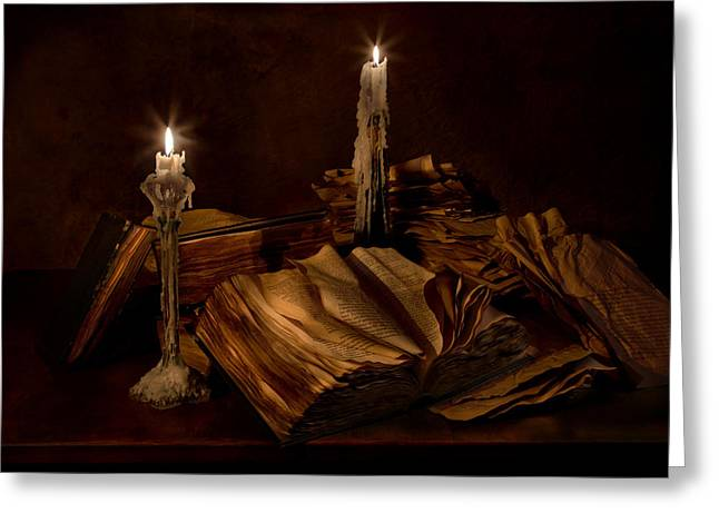 Candle Lit Greeting Cards - Books and Candles Greeting Card by Mary Tomaino