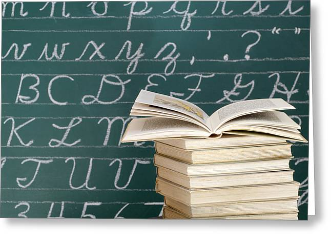 Books And Chalkboard Greeting Card by Chevy Fleet