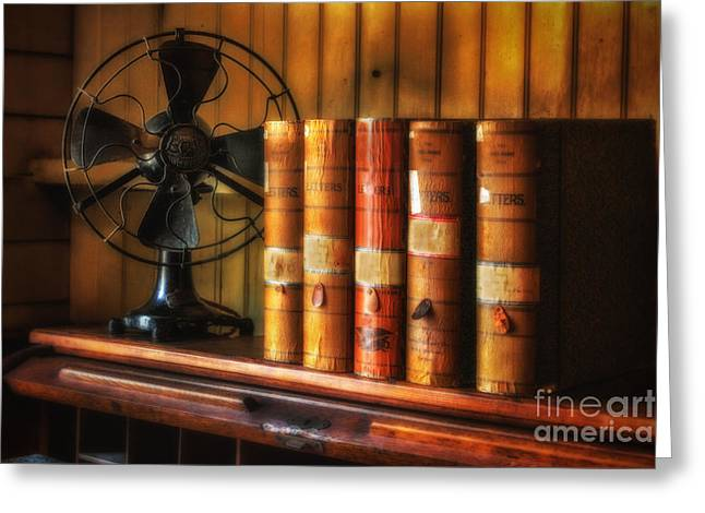 Edison Greeting Cards - Books and Fan Greeting Card by Jerry Fornarotto