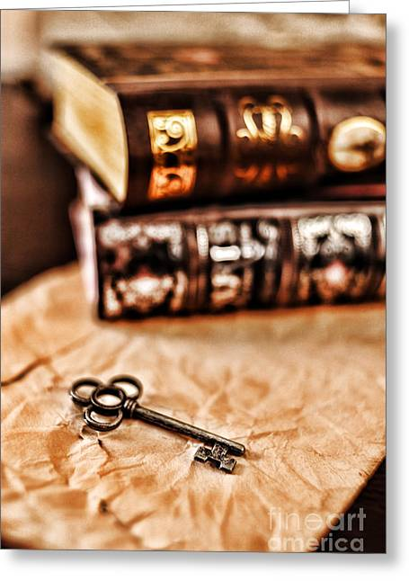 Book Greeting Cards - Books And Key Greeting Card by HD Connelly
